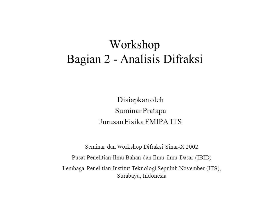 Workshop Difraksi Sinar-X ITS 2002 Mengapa difraksi sinar-x.