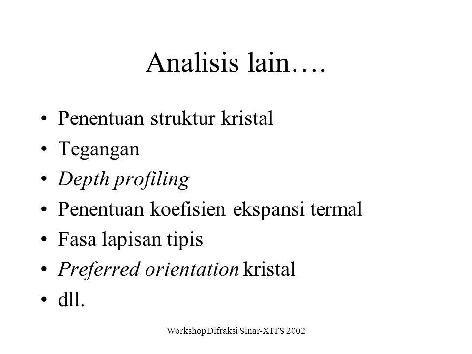 Workshop Difraksi Sinar-X ITS 2002 Analisis lain….