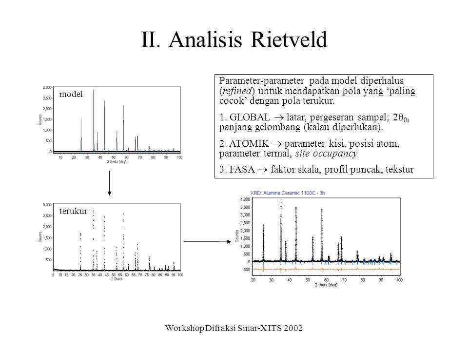 Workshop Difraksi Sinar-X ITS 2002 Perangkat analisis Rietveld misal lihat: http://crystsun1.unige.ch/stxnews/riet/faq/progs/riet-pc.htm 1.