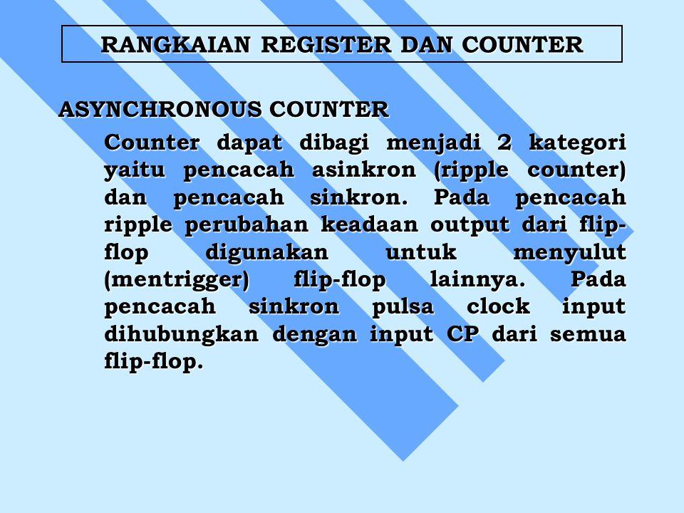 RANGKAIAN REGISTER DAN COUNTER ASYNCHRONOUS COUNTER Counter dapat dibagi menjadi 2 kategori yaitu pencacah asinkron (ripple counter) dan pencacah sinkron.