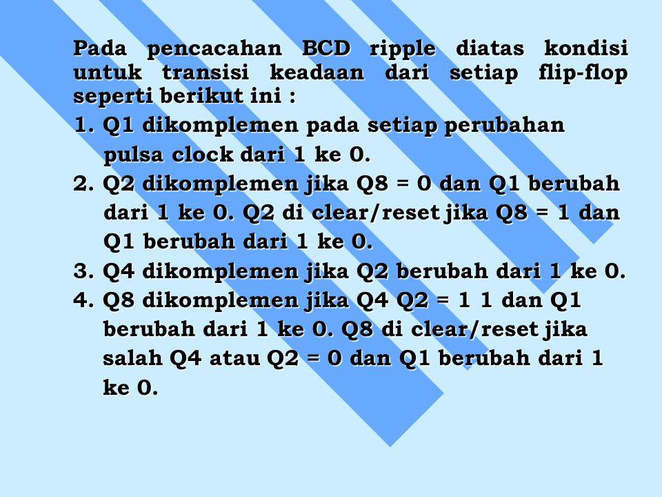 Pada pencacahan BCD ripple diatas kondisi untuk transisi keadaan dari setiap flip-flop seperti berikut ini : 1. Q1 dikomplemen pada setiap perubahan p