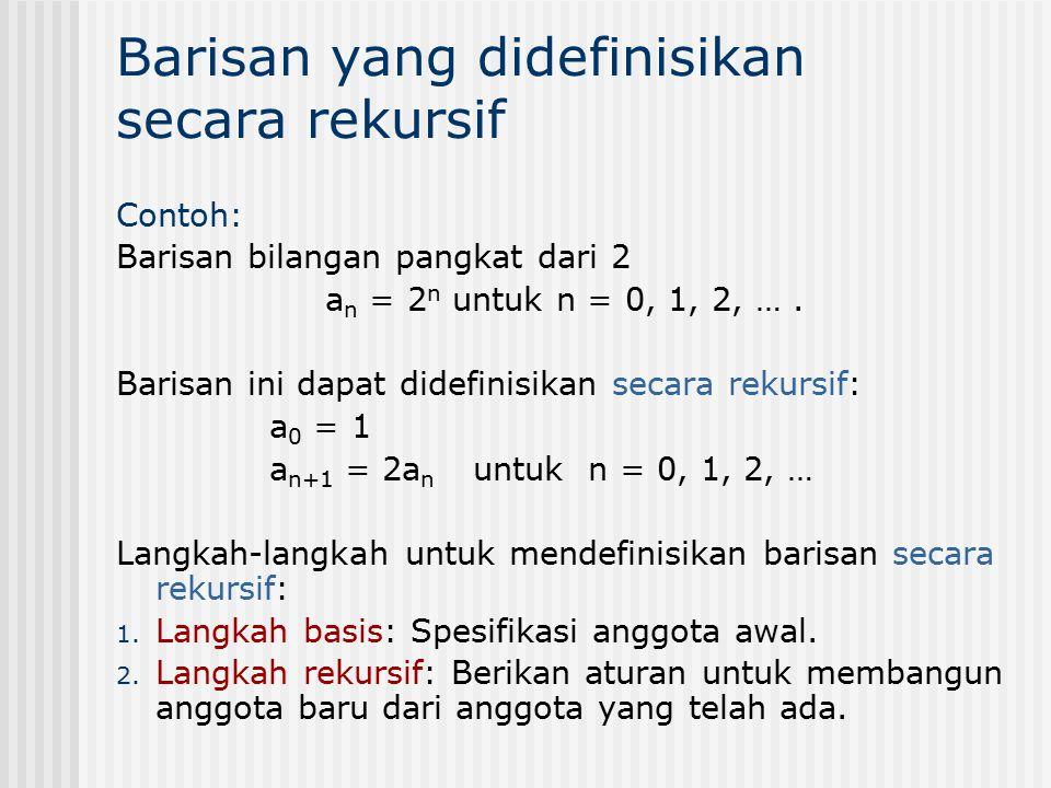 Barisan yang didefinisikan secara rekursif Contoh: Barisan bilangan pangkat dari 2 a n = 2 n untuk n = 0, 1, 2, …. Barisan ini dapat didefinisikan sec