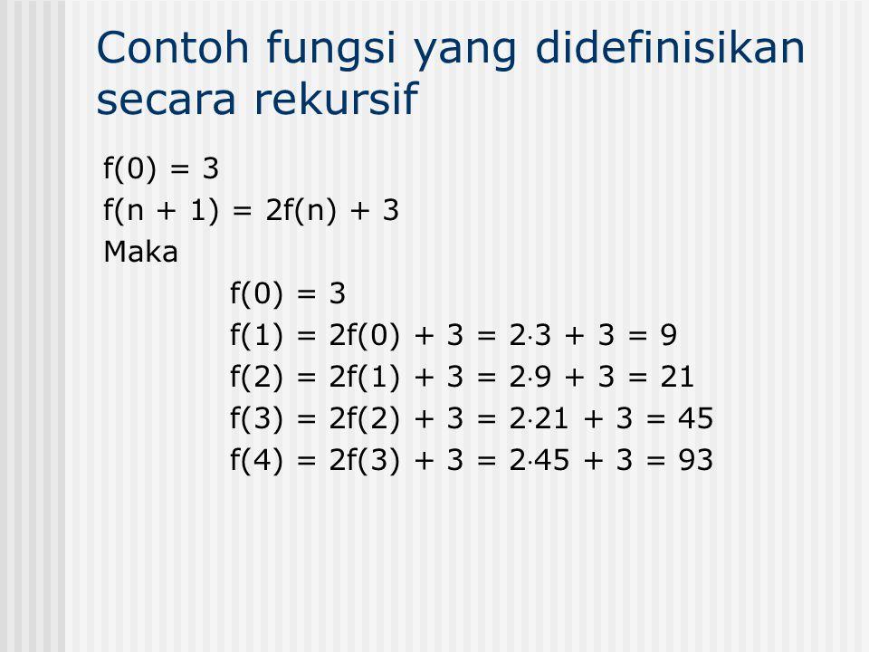 f(0) = 3 f(n + 1) = 2f(n) + 3 Maka f(0) = 3 f(1) = 2f(0) + 3 = 23 + 3 = 9 f(2) = 2f(1) + 3 = 29 + 3 = 21 f(3) = 2f(2) + 3 = 221 + 3 = 45 f(4) = 2f(