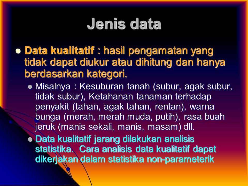 Jenis data Data kualitatif : hasil pengamatan yang tidak dapat diukur atau dihitung dan hanya berdasarkan kategori. Data kualitatif : hasil pengamatan