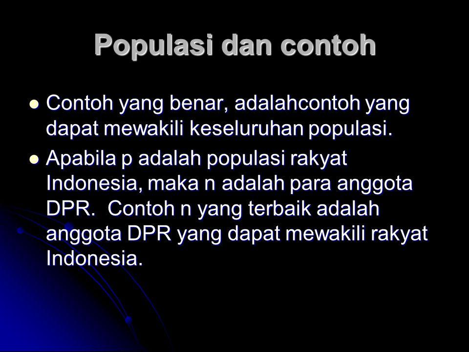 Populasi dan contoh Contoh yang benar, adalahcontoh yang dapat mewakili keseluruhan populasi. Contoh yang benar, adalahcontoh yang dapat mewakili kese