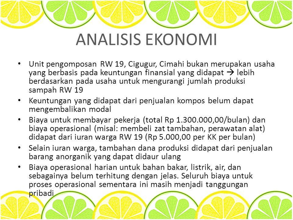 ANALISIS EKONOMI Unit pengomposan RW 19, Cigugur, Cimahi bukan merupakan usaha yang berbasis pada keuntungan finansial yang didapat  lebih berdasarka