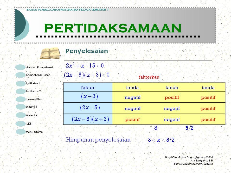Hotel Ever Green Bogor,Agustusi 2006 Ary Surfyanto SSi SMA Muhammadiyah 4, Jakarta Penyelesaian Modul Pembelajaran Matematika Kelas X semester 1 PERTIDAKSAMAAN Modul Pembelajaran Matematika Kelas X semester 1 PERTIDAKSAMAAN Bahan Pembelajaran Matematika Kelas X semester 1 PERTIDAKSAMAAN faktorkan faktortanda negatifpositif negatif positif negatifpositif 33 Himpunan penyelesaian Standar Kompetensi Kompetensi Dasar Indikator1 Lesson Plan Materi 1 LKS Menu Utama Materi 2 Indikator 2
