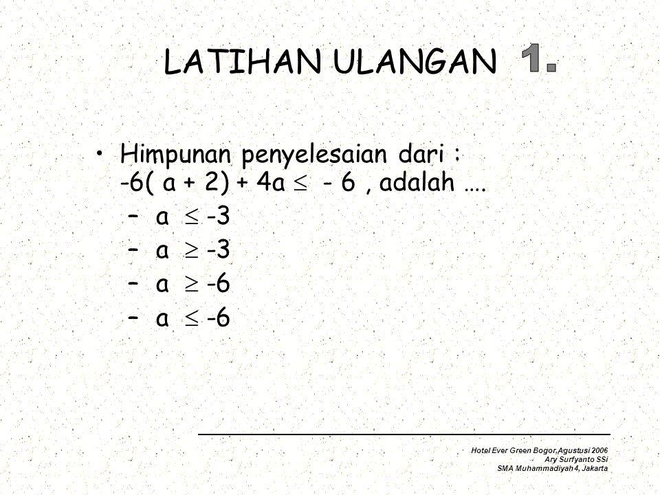 LATIHAN ULANGAN Himpunan penyelesaian dari : -6( a + 2) + 4a  - 6, adalah ….