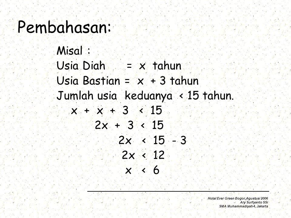 Pembahasan: Misal : Usia Diah = x tahun Usia Bastian = x + 3 tahun Jumlah usia keduanya < 15 tahun.