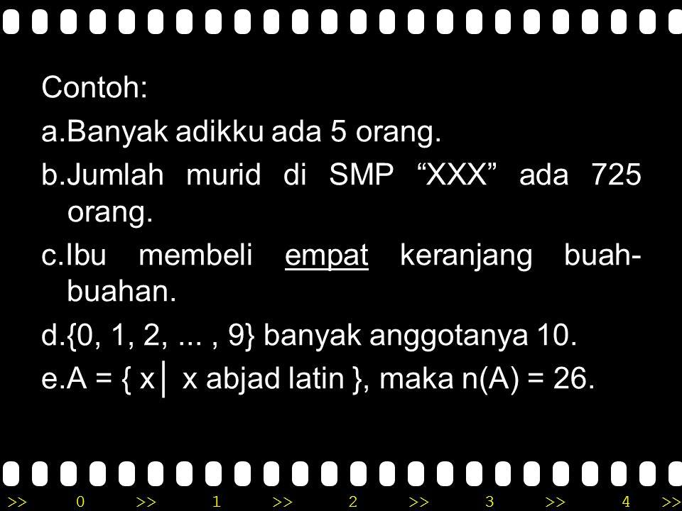 >>0 >>1 >> 2 >> 3 >> 4 >> JENIS-JENIS BILANGAN 1. BILANGAN KARDINAL Bilangan kardinal adalah bilangan yang di pergunakan untuk menyatakan banyak dari