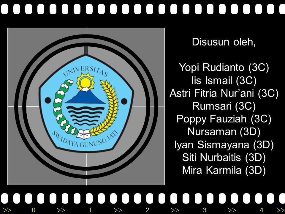 >>0 >>1 >> 2 >> 3 >> 4 >> Disusun oleh, Yopi Rudianto (3C) Iis Ismail (3C) Astri Fitria Nur'ani (3C) Rumsari (3C) Poppy Fauziah (3C) Nursaman (3D) Iyan Sismayana (3D) Siti Nurbaitis (3D) Mira Karmila (3D)