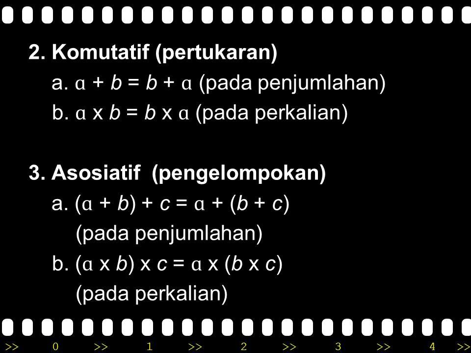 >>0 >>1 >> 2 >> 3 >> 4 >> Sifat – sifat Operasi Hitung Bilangan 1. Ketertutupan Misal pada penjumlahan bilangan asli ɑ + b = c dengan ɑ, b, c, bilanga