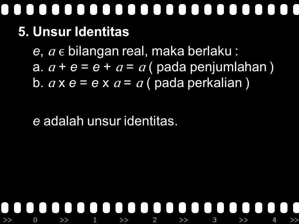 >>0 >>1 >> 2 >> 3 >> 4 >> 4. Distributif (penyebaran) a. Perkalian terhadap penjumlahan (p + q) x r = (p x r) + (q x r) b. Perkalian terhadap penguran