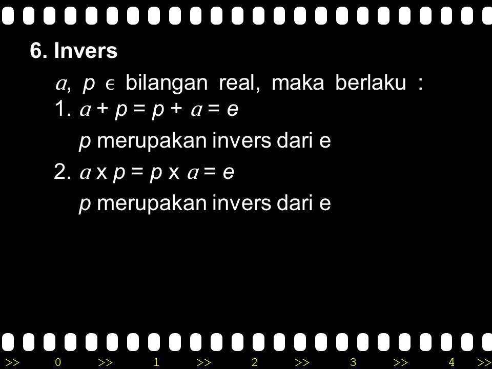 >>0 >>1 >> 2 >> 3 >> 4 >> 5. Unsur Identitas e, ɑ bilangan real, maka berlaku : a. ɑ + e = e + ɑ = ɑ ( pada penjumlahan ) b. ɑ x e = e x ɑ = ɑ ( pada