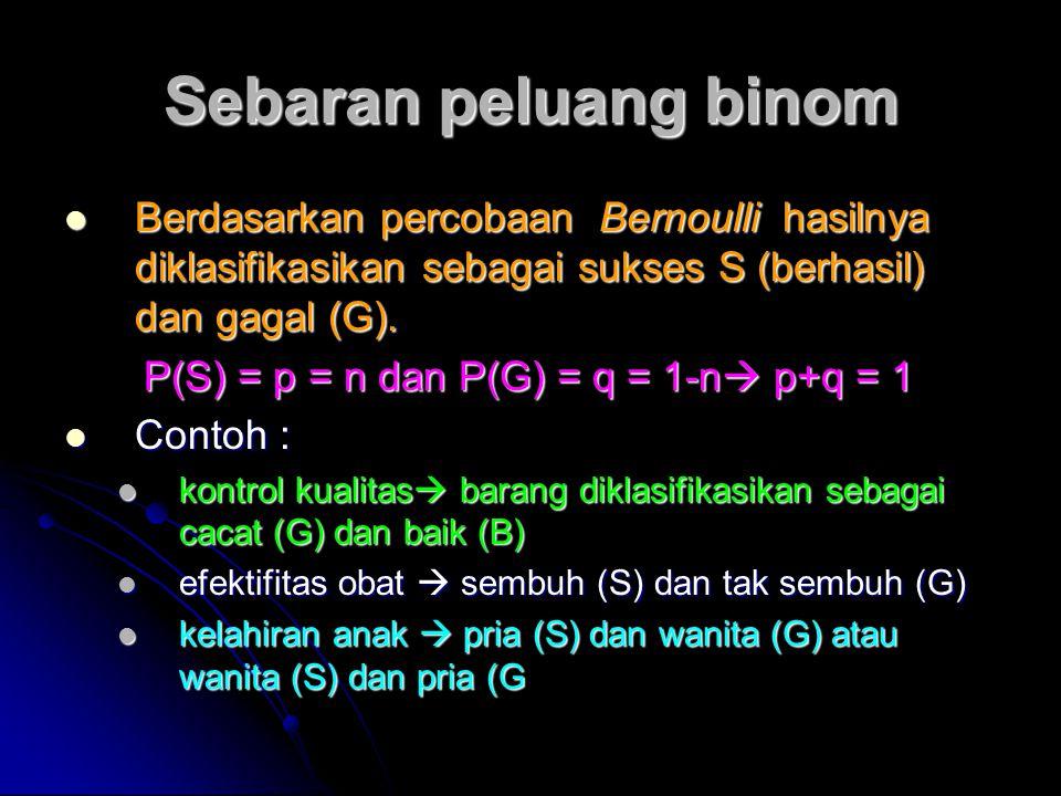Sebaran peluang binom Berdasarkan percobaan Bernoulli hasilnya diklasifikasikan sebagai sukses S (berhasil) dan gagal (G). Berdasarkan percobaan Berno