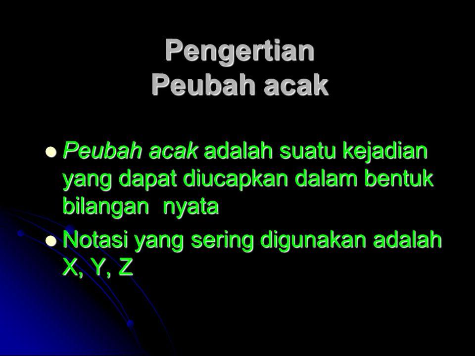 Pengertian Peubah acak Peubah acak adalah suatu kejadian yang dapat diucapkan dalam bentuk bilangan nyata Peubah acak adalah suatu kejadian yang dapat