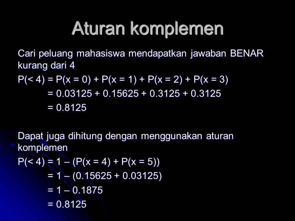 Aturan komplemen Cari peluang mahasiswa mendapatkan jawaban BENAR kurang dari 4 P(< 4) = P(x = 0) + P(x = 1) + P(x = 2) + P(x = 3) = 0.03125 + 0.15625
