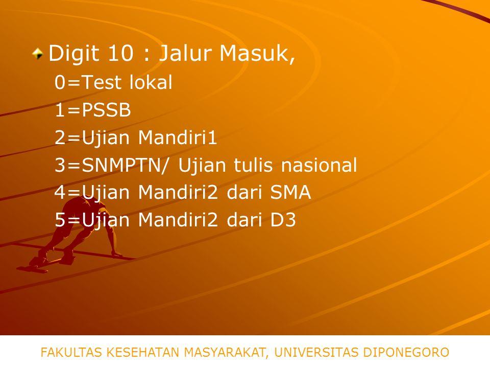 Digit 10 : Jalur Masuk, 0=Test lokal 1=PSSB 2=Ujian Mandiri1 3=SNMPTN/ Ujian tulis nasional 4=Ujian Mandiri2 dari SMA 5=Ujian Mandiri2 dari D3 FAKULTAS KESEHATAN MASYARAKAT, UNIVERSITAS DIPONEGORO