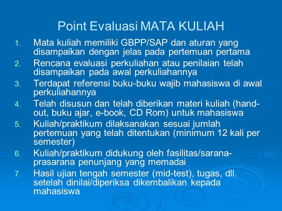 Point Evaluasi MATA KULIAH 1.