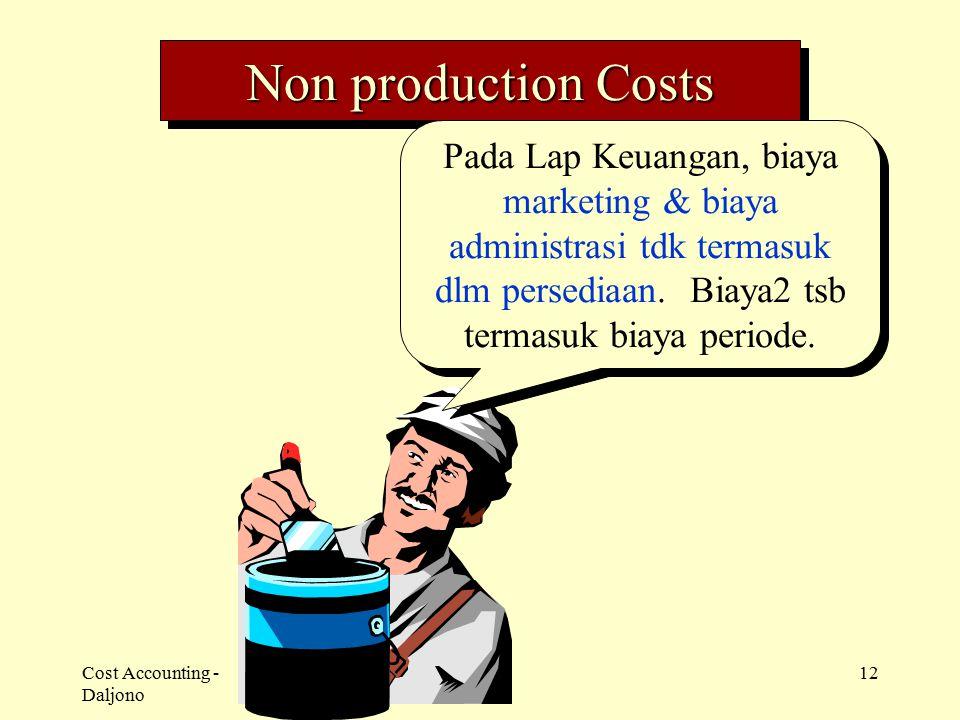 Cost Accounting - Daljono 12 Non production Costs Pada Lap Keuangan, biaya marketing & biaya administrasi tdk termasuk dlm persediaan. Biaya2 tsb term