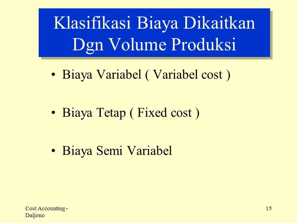 Cost Accounting - Daljono 15 Klasifikasi Biaya Dikaitkan Dgn Volume Produksi Biaya Variabel ( Variabel cost ) Biaya Tetap ( Fixed cost ) Biaya Semi Va