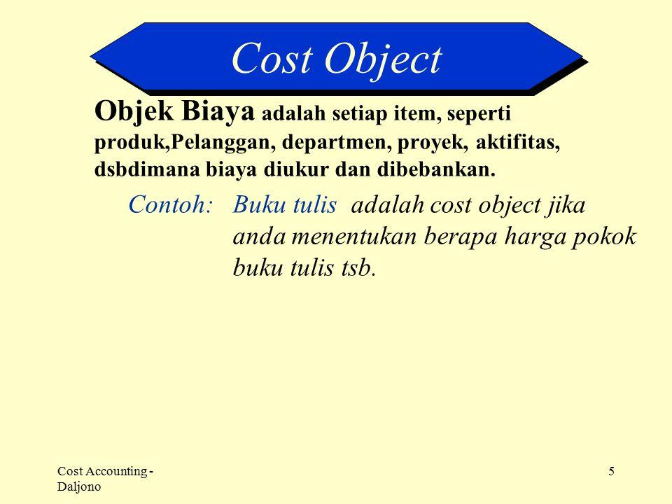 Cost Accounting - Daljono 5 Objek Biaya adalah setiap item, seperti produk,Pelanggan, departmen, proyek, aktifitas, dsbdimana biaya diukur dan dibeban