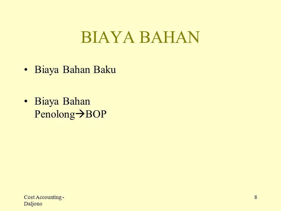 Cost Accounting - Daljono 8 BIAYA BAHAN Biaya Bahan Baku Biaya Bahan Penolong  BOP