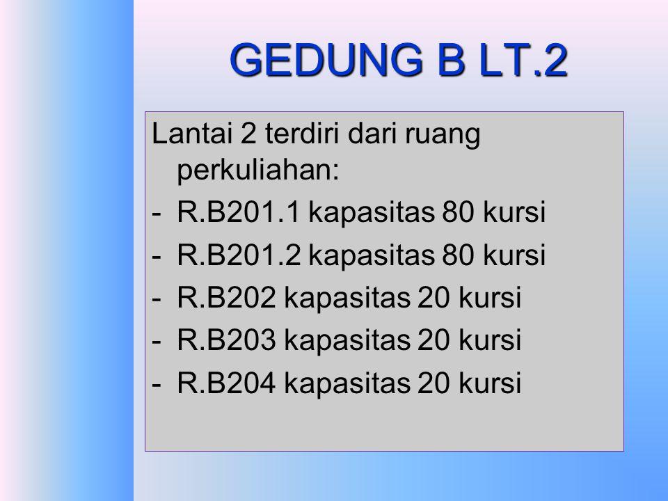 GEDUNG B LT.1 Lantai 1 terdiri dari : -Ruang laboratorium terpadu B.101 -Ruang dosen bagian PKIP -Ruang SCL, yang terdiri dari 6 kelas kecil- kecil -R