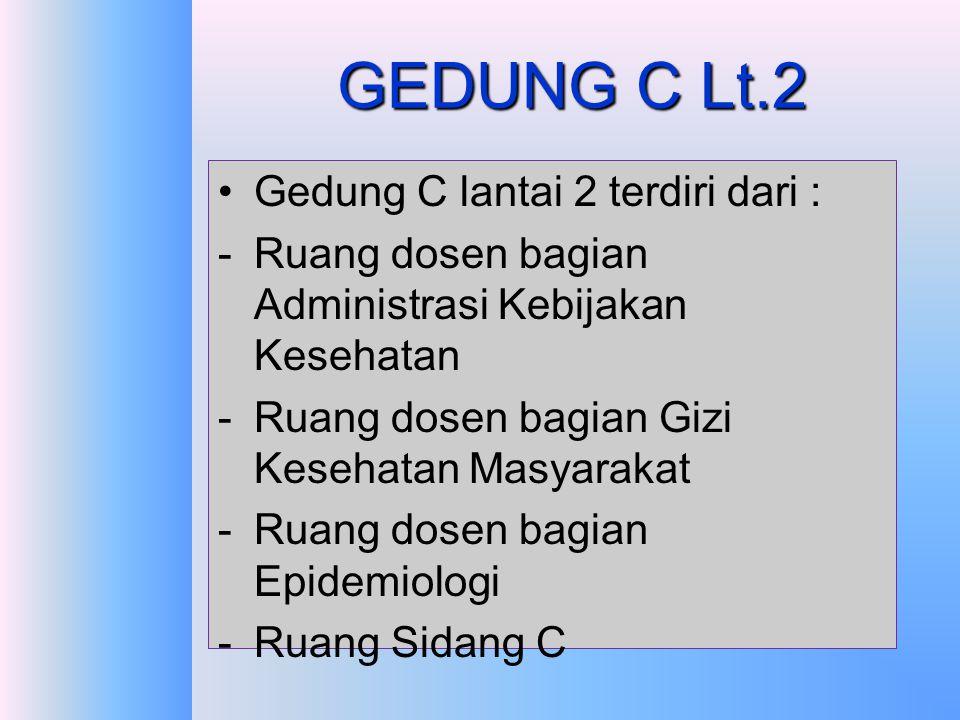 GEDUNG C Lt.1 Gedung C lantai 1 terdiri dari : -Ruang dosen bagian Biostatistik -Ruang dosen bagian Kesehatan Lingkungan -Ruang dosen bagian Kesehatan