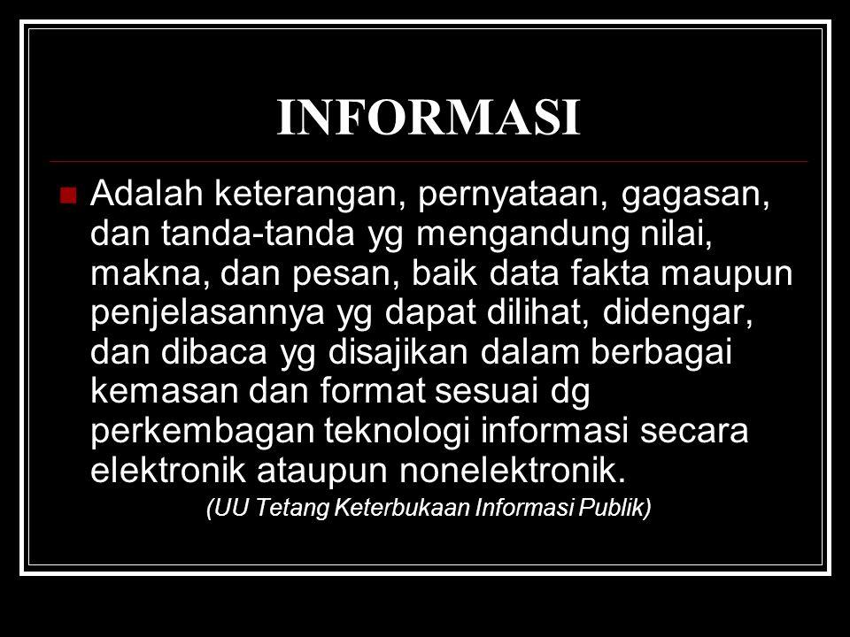 INFORMASI Adalah keterangan, pernyataan, gagasan, dan tanda-tanda yg mengandung nilai, makna, dan pesan, baik data fakta maupun penjelasannya yg dapat