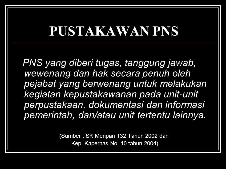 PUSTAKAWAN PNS PNS yang diberi tugas, tanggung jawab, wewenang dan hak secara penuh oleh pejabat yang berwenang untuk melakukan kegiatan kepustakawanan pada unit-unit perpustakaan, dokumentasi dan informasi pemerintah, dan/atau unit tertentu lainnya.