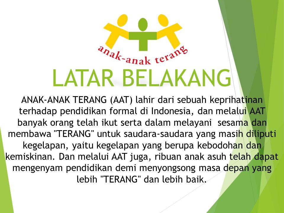 LATAR BELAKANG ANAK-ANAK TERANG (AAT) lahir dari sebuah keprihatinan terhadap pendidikan formal di Indonesia, dan melalui AAT banyak orang telah ikut