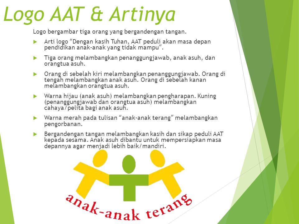 "Logo AAT & Artinya Logo bergambar tiga orang yang bergandengan tangan.  Arti logo ""Dengan kasih Tuhan, AAT peduli akan masa depan pendidikan anak-ana"