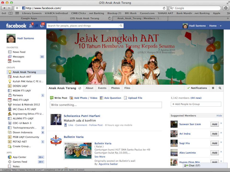  SMP Pangudi Luhur Moyudan (mulai Januari 2011 – sekarang)  SMP Kanisius Bambanglipuro/Ganjuran (mulai Januari 2011 – sekarang)  Komunitas Maria Assumpta Jogoyudan (mulai Juli 2011 – sekarang)  SMP Marsudi Luhur Yogyakarta (mulai Juli 2011 – sekarang)  SMA Marsudi Luhur Yogyakarta (mulai Juli 2011 – sekarang)  SMK Marsudi Luhur 2 Yogyakarta (mulai Juli 2011 – sekarang)  SD Kanisius Klepu (mulai Juli 2011 – sekarang)  SMP Budi Mulia Minggir (mulai Juli 2011 – sekarang)  SD BOPKRI Minggir (mulai Juli 2011 – sekarang)  SD Kanisius Kenteng (mulai Juli 2011 – sekarang)  SD Kanisius Pulutan (mulai Juli 2011 – sekarang)  SD Kanisius Minggir (mulai Juli 2011 – sekarang)  Lingkungan Bernadetta Pringgolayan (mulai Juli 2011 – sekarang)  Lingkungan Ludovikus Klepu (mulai Juli 2011 – Juni 2012)  SD Kanisius Jering (mulai Juli 2011 – sekarang)  SMA Sanjaya XIV Nanggulan (mulai Juli 2011 – sekarang) Daftar Anak Asuh AAT