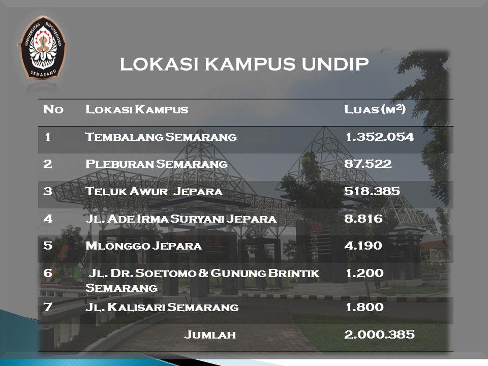 LOKASI KAMPUS UNDIP NoLokasi KampusLuas (m 2 ) 1Tembalang Semarang1.352.054 2Pleburan Semarang87.522 3Teluk Awur Jepara518.385 4Jl.