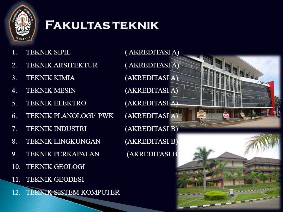 Fakultas teknik 1.TEKNIK SIPIL ( AKREDITASI A) 2.TEKNIK ARSITEKTUR ( AKREDITASI A) 3.TEKNIK KIMIA (AKREDITASI A) 4.TEKNIK MESIN (AKREDITASI A) 5.TEKNIK ELEKTRO (AKREDITASI A) 6.TEKNIK PLANOLOGI/ PWK (AKREDITASI A) 7.TEKNIK INDUSTRI (AKREDITASI B) 8.TEKNIK LINGKUNGAN (AKREDITASI B) 9.TEKNIK PERKAPALAN (AKREDITASI B) 10.TEKNIK GEOLOGI 11.TEKNIK GEODESI 12.TEKNIK SISTEM KOMPUTER