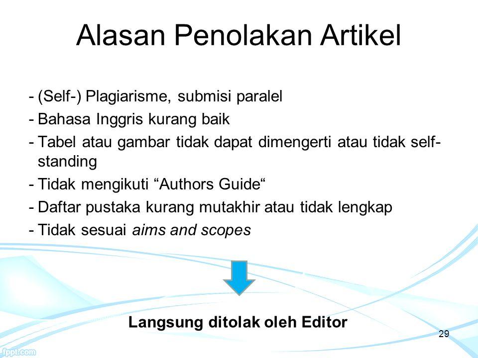 29 Alasan Penolakan Artikel -(Self-) Plagiarisme, submisi paralel -Bahasa Inggris kurang baik -Tabel atau gambar tidak dapat dimengerti atau tidak sel