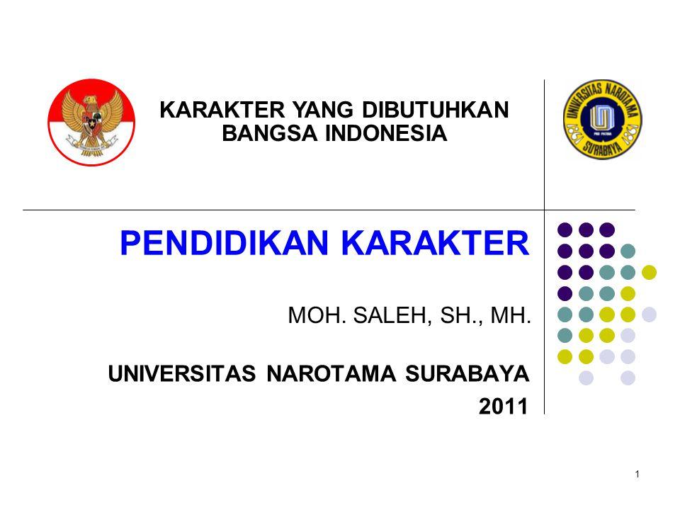 1 PENDIDIKAN KARAKTER MOH. SALEH, SH., MH. UNIVERSITAS NAROTAMA SURABAYA 2011 KARAKTER YANG DIBUTUHKAN BANGSA INDONESIA