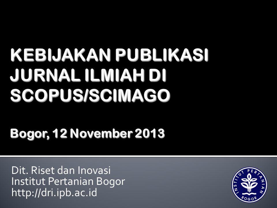  Kebijakan Dasar Penelitian Institut Pertanian Bogor tertuang dalam SK Senat Akademik IPB No.