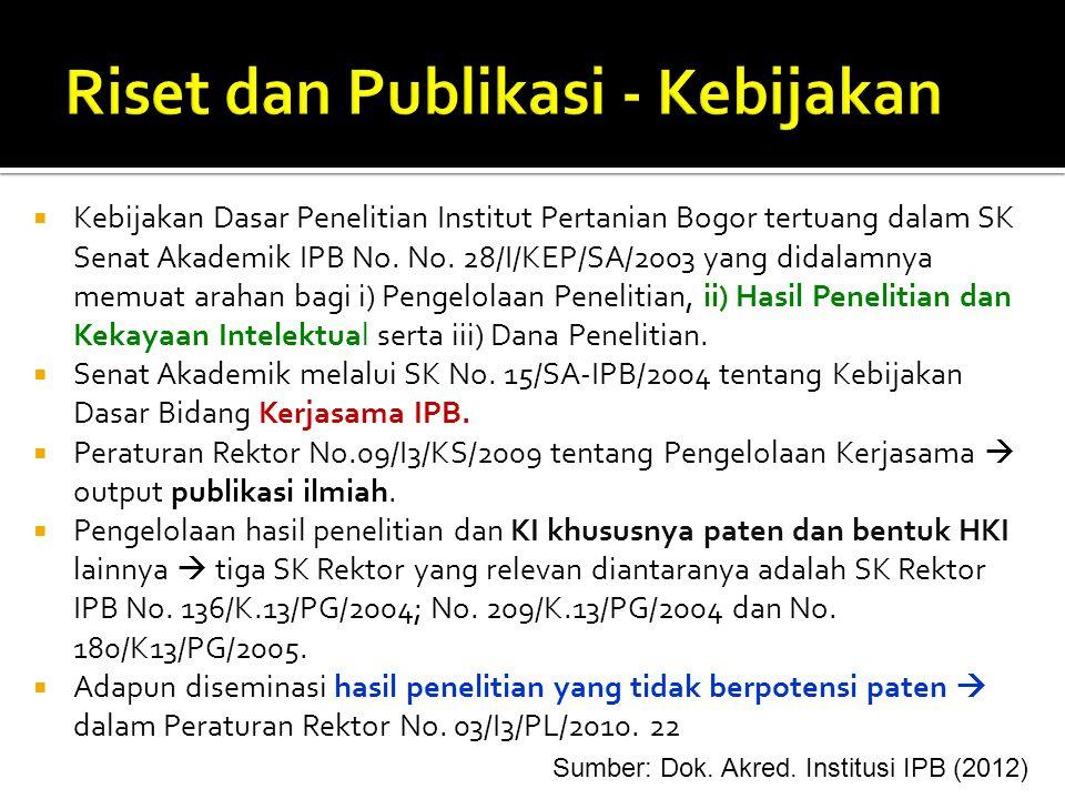  Kebijakan Dasar Penelitian Institut Pertanian Bogor tertuang dalam SK Senat Akademik IPB No. No. 28/I/KEP/SA/2003 yang didalamnya memuat arahan bagi