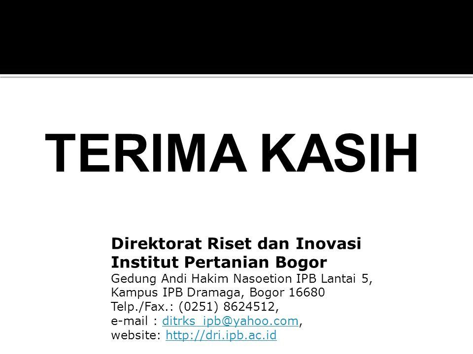 Direktorat Riset dan Inovasi Institut Pertanian Bogor Gedung Andi Hakim Nasoetion IPB Lantai 5, Kampus IPB Dramaga, Bogor 16680 Telp./Fax.: (0251) 862