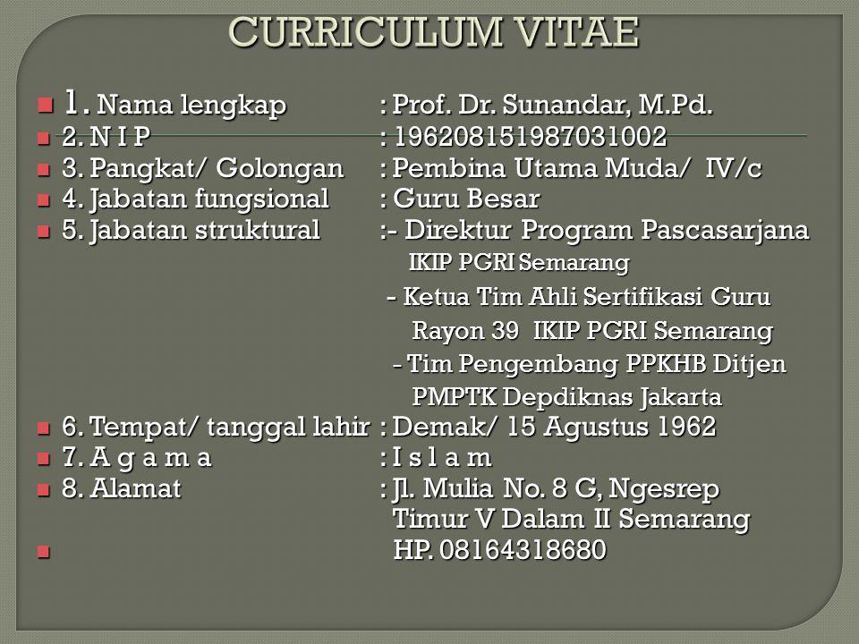 1.Nama lengkap: Prof. Dr. Sunandar, M.Pd. 1. Nama lengkap: Prof.
