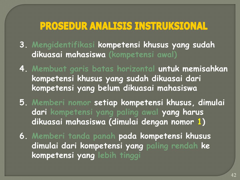41 1.Menulis kompetensi yang ada dalam Tujuan Instruksional Umum (TIU) 2.Melakukan analisis dengan cara: A.Menulis kompetensi khusus yang relevan deng