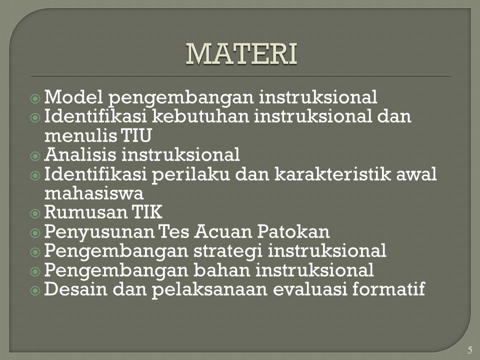  Model pengembangan instruksional  Identifikasi kebutuhan instruksional dan menulis TIU  Analisis instruksional  Identifikasi perilaku dan karakteristik awal mahasiswa  Rumusan TIK  Penyusunan Tes Acuan Patokan  Pengembangan strategi instruksional  Pengembangan bahan instruksional  Desain dan pelaksanaan evaluasi formatif 5