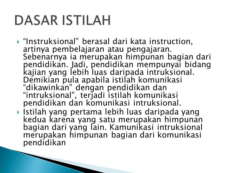 Instruksional berasal dari kata instruction, artinya pembelajaran atau pengajaran.