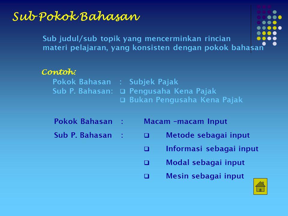 Contoh: Pokok Bahasan:Subjek Pajak Sub P.