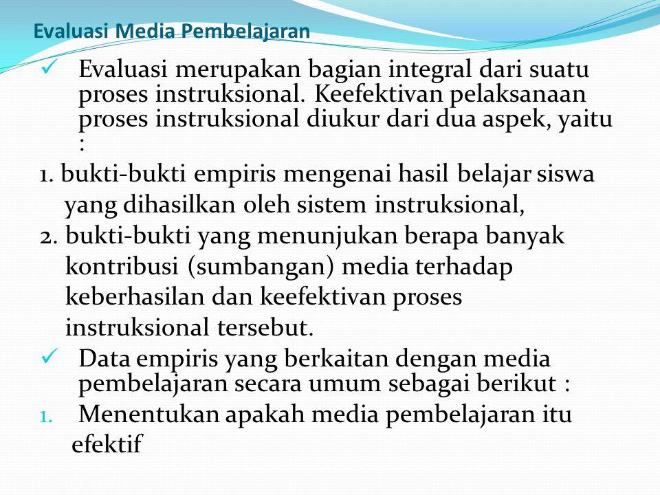 Evaluasi Media Pembelajaran Evaluasi merupakan bagian integral dari suatu proses instruksional. Keefektivan pelaksanaan proses instruksional diukur da