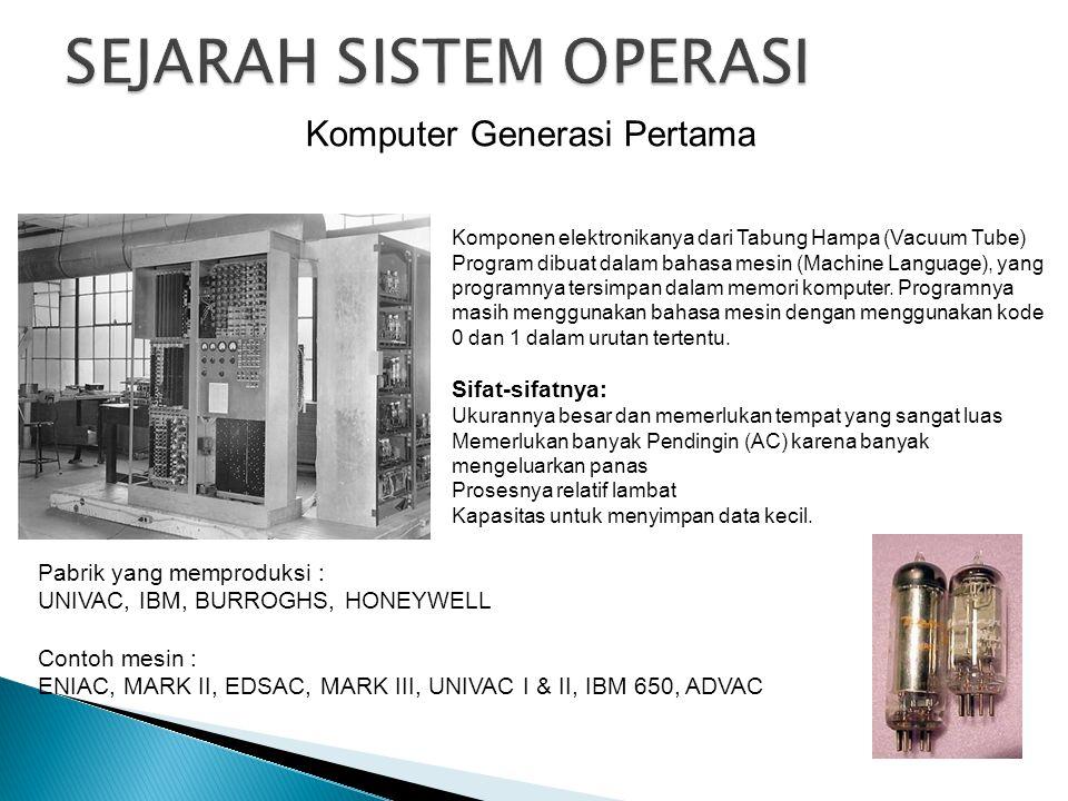 Komputer Generasi Pertama Komponen elektronikanya dari Tabung Hampa (Vacuum Tube) Program dibuat dalam bahasa mesin (Machine Language), yang programny