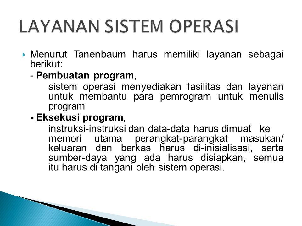  Menurut Tanenbaum harus memiliki layanan sebagai berikut: - Pembuatan program, sistem operasi menyediakan fasilitas dan layanan untuk membantu para