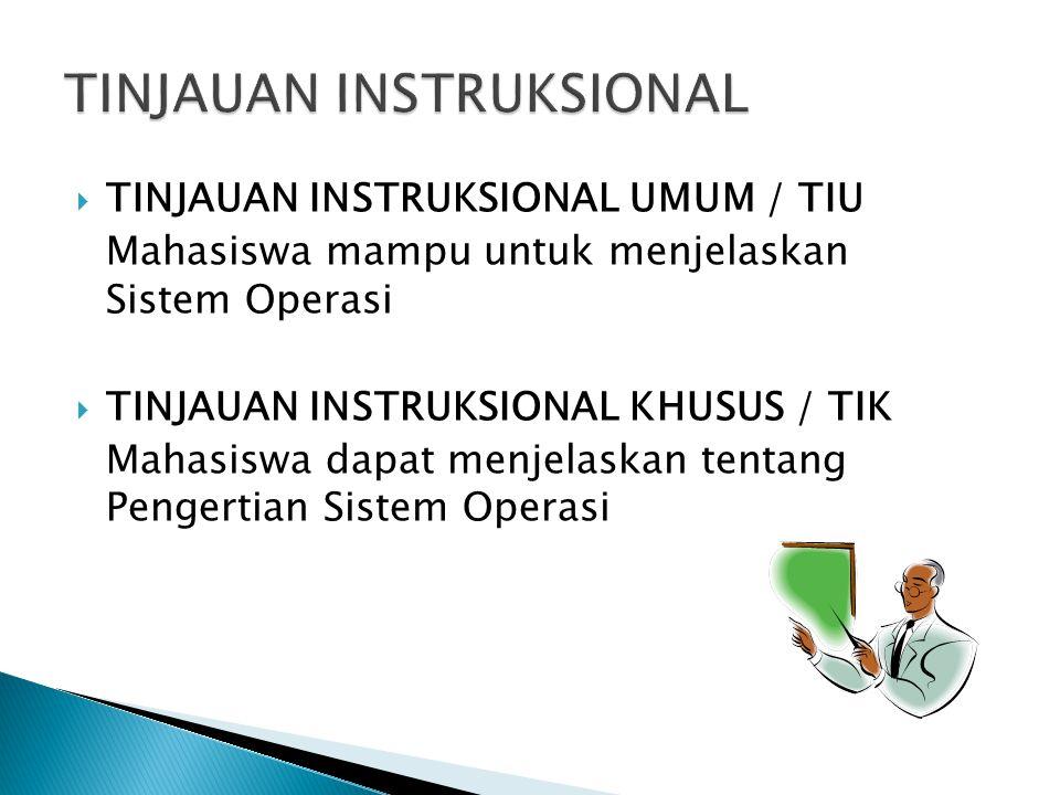  TINJAUAN INSTRUKSIONAL UMUM / TIU Mahasiswa mampu untuk menjelaskan Sistem Operasi  TINJAUAN INSTRUKSIONAL KHUSUS / TIK Mahasiswa dapat menjelaskan